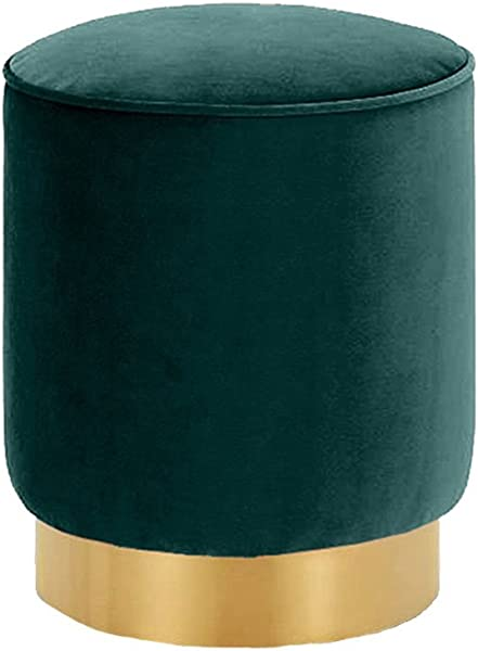WZ Ottomans Upholstered Makeup Stool Elegant Footstool Luxury Ottoman Living Room Bedroom Flannel Green Size 40cmx35cm