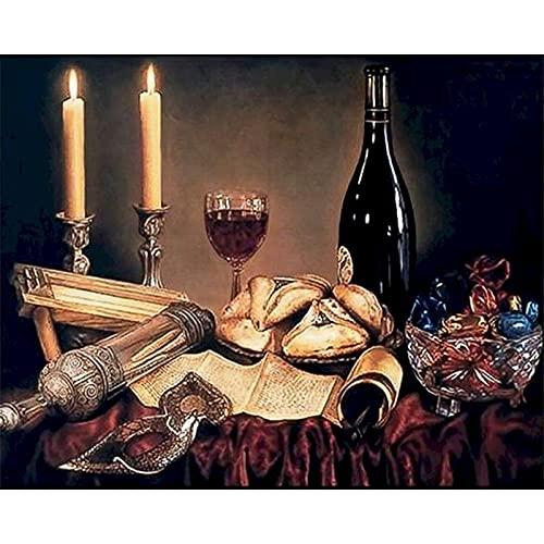 LDAAKL Kit de pintura por número, lienzo de bricolaje pintura al óleo para niños adultos principiantes, decoración del hogar, regalos de vino tinto y velas de 40 x 20 pulgadas