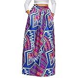 semen Femme Jupe Longue Maxi Imprimé Floral Robe Dress Taille Haute Rétro Africain Mode Mince Casual Plage Vacances Printemps Eté