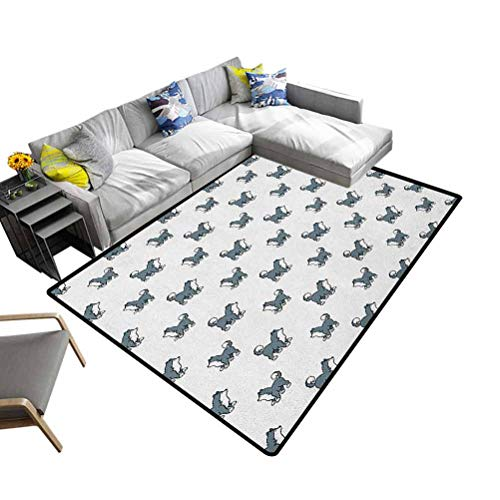 Dog Indoor Area Rug Husky Puppy Siberian Energetic Pet Alaskan Origin Sketch Style Cartoon Cold for Kitchen Rugs Blue Grey Black White (6'x9')