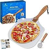 UNANIC 12X14 Zoll Aluminium Metall Pizzaschieber, mit hölzernem Griff, falt- und abnehmbar - Pizza Schaufel für den Ofen, zum Brot backen - mit 60+ Linken von Spezialrezepten