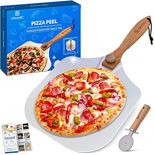 UNANIC Łopatka do pizzy - składana, zdejmowana drewniana rączka - aluminiowa szufla klasy komercyjnej do piekarnika - narzędzie do pieczenia do ciast, chleba, ciasta, ciasta - łatwe przechowywanie - w zestawie z obcinaczem do kół, przepisami, instrukcja obsługi