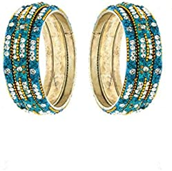 Anuradha Art Navy Blue Colour Styled with Classy Designer Golden Colour Sparkles Ethnic Bangles Set for Women//Girls