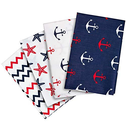 4 x Patchwork Stoffe aus Baumwolle, 50 x 40 cm, maritimes Design, Farben: blau + weiß