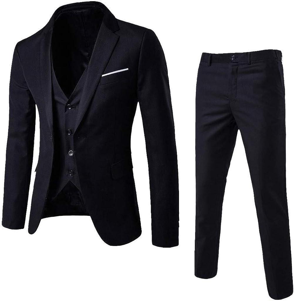 Men¡¯s Classic Suit Slim 3-Piece Suit Blazer Business Gentleman Wedding Party Jacket Vest & Pants