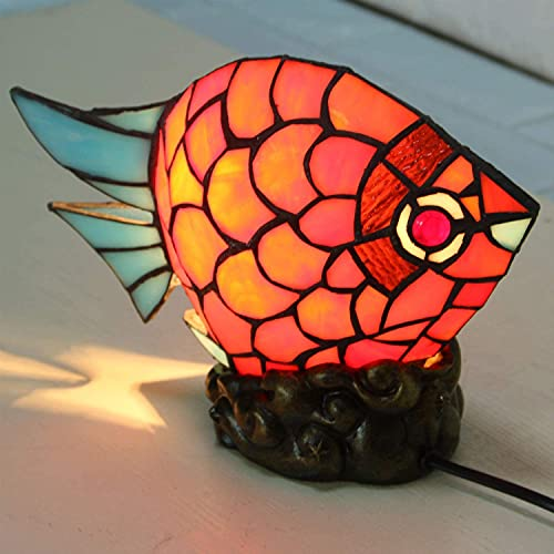 TOPNIU Lámpara de Escritorio Artesanal lámpara DIRIGIÓ Lámpara de Mesa Estilo Tiffany lámpara de Regalo de Boda Dormitorio de Noche Ojo nórdico Creativo Goldfish de la Noche 25cm25cm33cm