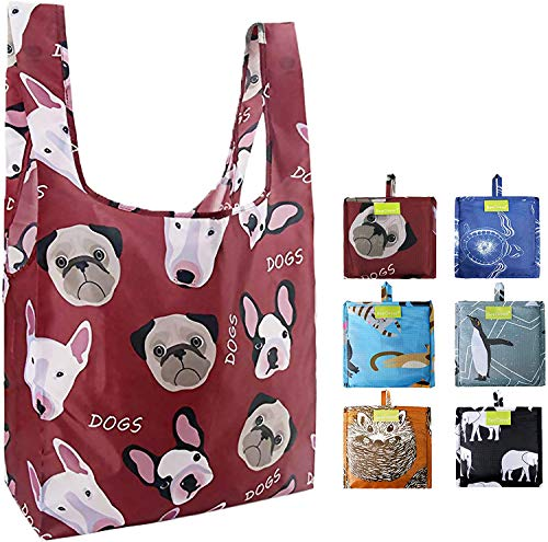 Reusable-Grocery-Shopping-Tote-Bags-Foldable 6 Pack Extra Large 50LBS Machine Washable Ripstop Nylon Fabric Cute Animal Designs Black Elephant Brown Hedgehog Blue Cat Navy Turtle Red Dog Grey Penguin
