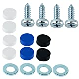 A0023 - Tornillos para matrícula (4 unidades, 4,8 x 16 mm, con tapones de fijación)