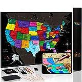 Novelty Place Neuheit Ort Scratch Off Karte der USA mit
