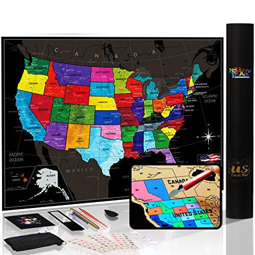"""Novelty Place Scratch off Map of The United States - USA Travel Tracker Map Poster - Flag pins & Complete Scratcher Kit Included - 24"""" X 17"""" Large Map - Premium Wall Art Gift for Loved Ones"""