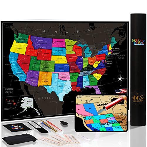 Mapa de los Estados Unidos con estados y banderas, póster de mapa de viaje, kit completo de rascador incluido, tamaño grande, 61 x 43 cm, regalo de arte de pared de primera calidad para seres queridos
