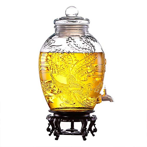 Barm Dispensador de Bebidas  Tarro de Cristal   Dispensador de Bebidas frías  Dispensador de Cerveza  con Tapa y Base  Espita de Metal sin Fugas   6L / 10L / 15L / 25L  Vaso Transparente
