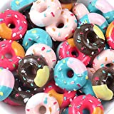 Assorted 30 Pcs Cute Slime Charms Beads Cookies Donut Macaron Dessert Ice Cream Resin Charms Slices Flatback Buttons for Handicraft Accessories Scrapbooking Phone Case Decor Jewelry Making (tianquan)