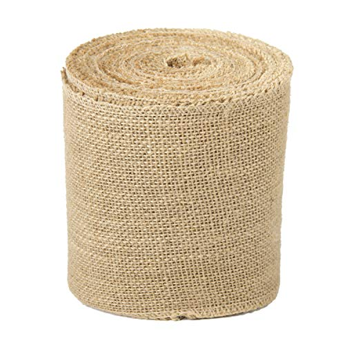LaRibbons 6 Inch Wide Burlap Fabric Craft Ribbon - 10 Yards
