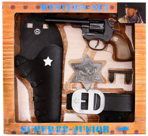 Schrödel J.G. 1950149 Super 88 Junior: Spielzeugpistole und Pistolengürtel, in Geschenkebox, Western-Set, schwarz (195 0149)