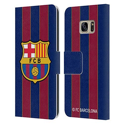 Head Case Designs Licenciado Oficialmente FC Barcelona Casa 2020/21 Kit de Cresta Carcasa de Cuero Tipo Libro Compatible con Samsung Galaxy S7
