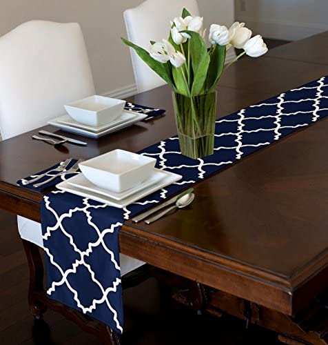 A LuxeHome Navy Blue and White Modern Contemporary Trellis Table Runner Mat Topper 12 x 90 product image
