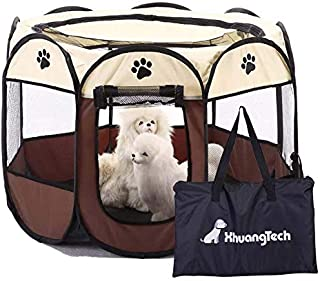 XianghuangTechnology Soft Fabric Portable Foldable Pet Dog Cat Puppy Playpen, Indoor/Outdoor use Pet Kennel Cage D31.5 x H...