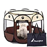 XianghuangTechnology Tela suave, portátil, plegable, para mascotas, perro, gato, cachorro, para uso en interiores y exteriores, jaula de perrera de mascotas de 31,5 x 23 pulgadas (beige)