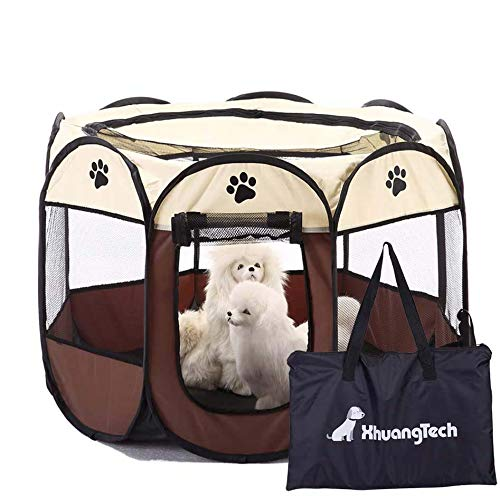 XianghuangTechnology Soft Fabric Portable Foldable Pet Dog Cat Puppy Playpen, Indoor/Outdoor use Pet Kennel Cage D31.5 x H23 inch (Beige)