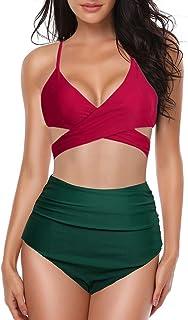 Top Homie レディース ファッション 無地 クロス ビキニ 三点セット 女性 ハイウエスト グリーン パンツ 黒 赤 水着 セパレーツ