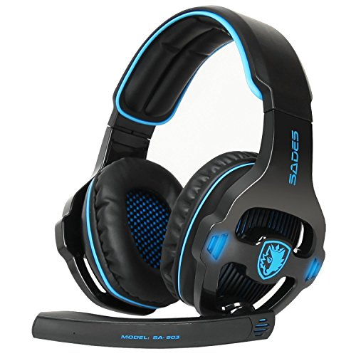 SADES USB Gaming Headset, SA903 Gaming Kopfhörer 7.1 Surround Sound Headset PC Stereo Kopfhörer mit Mikrofon (Blackblue)