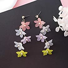 GMXEHUAN Earring High Quality Simple Sweet And Cute Animal Pattern Unique Design Charm New Korean Colorful Sweety Flower Long Earrings For Women Accessories Simulated Pearl Earings Fashion Jewelry