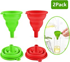 Collapsible Funnel Set, SEEOOR Foldable Kitchen Funnel, Food Grade Silicone Funnel for Water Bottle Oil Liquid Transfer (S...