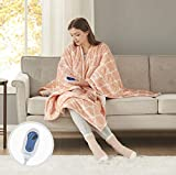 Comfort Spaces Plush to Sherpa Electric Blanket Shoulder and Neck Wrap with Matched Sock Set Ultra Soft and Warm Hypoallergenic Fleece-Reversible Heated Poncho Throw, 50' W x 64' L, Ogee Blush