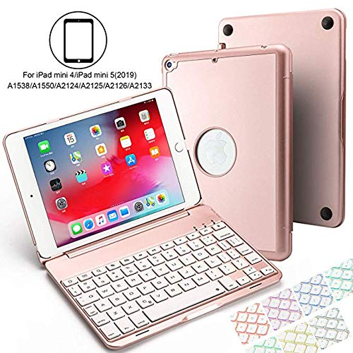 Aidashine IPad mini 4/5 hoesje met toetsenbord, hard beschermhoesje met 7 kleuren toetsenbord met achtergrondverlichting, automatische wake/slaapfunctie, Rosegold