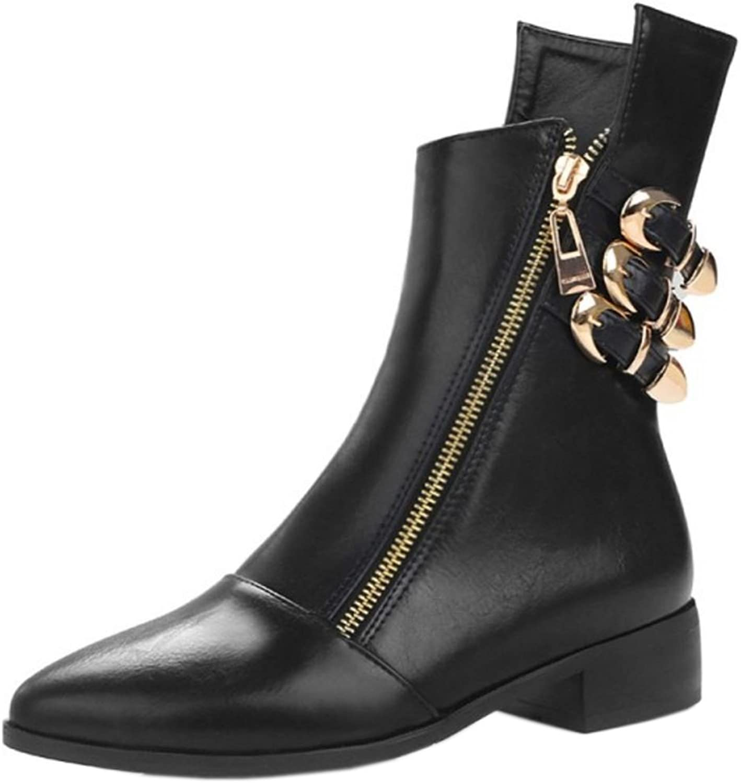 JOJONUNU Women Low Heel Ankle Boots Zip