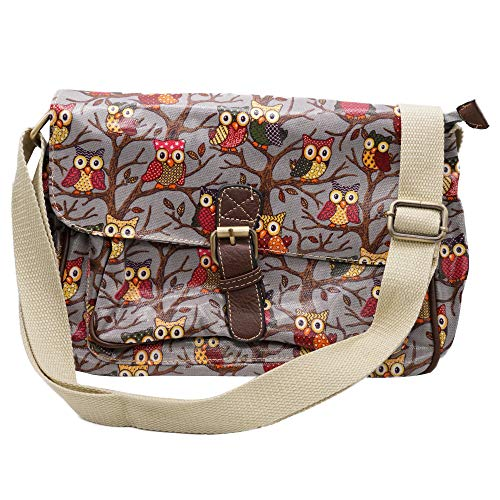 Satchel Oilcloth Owl Printed Small single pocket bags with Buckel Detail (Grey)