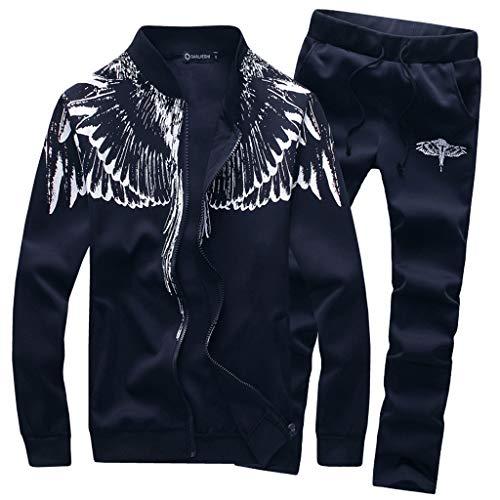 Herren Männer Hose Tops Hosen Sets Trainingsanzug FRAUIT Langarm Reißverschluss Sweatshirt Mode Design Sport Jacke Freizeit Warm Bequem Hose Jeans Jeanshose Pants M-4XL (L, X-Blau)