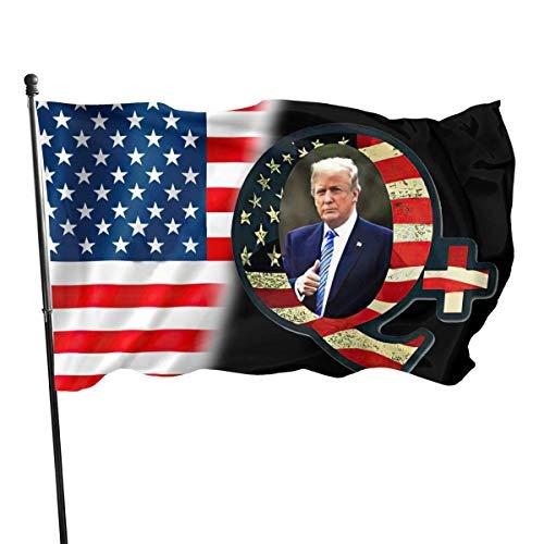 Hanging Flag Dekor,Wetterfest Fahne,Drinnen Dekoration Flagge,Garten Banner,Amerika Q Geformt Mit Trump Daumen Hoch Stoßstange Premium-Qualität Langlebige Flagge Dekor Für Häuser Und Gärten 150X90Cm