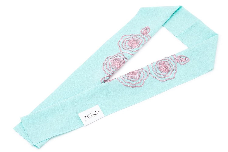 (ソウビエン) 半衿 水色 ライトブルー ピンク ラメ 薔薇 縮緬 ちりめん パイピング フォーマル 振袖向け 半襟 はんえり 和装小物 女性 レディース