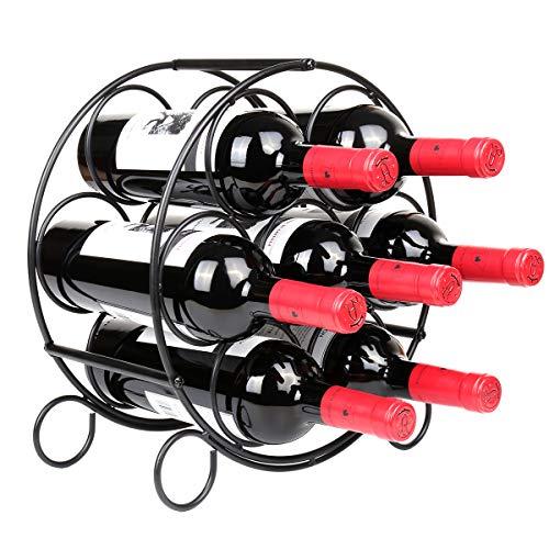 Linkfu Weinregal, freistehend, Metall, für 7 Flaschen, Schwarz