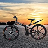 YADEOU Folding Mountain Bike 26 inch Wheel 21 Speed Full Shifter Dual Suspension Double Disc Brake Non-Slip, Bicycle for Man, Woman and Teenager, Folding Size [37x34x15in] [US Stock] (Black)