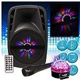 Lautsprechersystem Karaoke Audio Sound DJ auf Akku 8 Zoll RGB LEDs 300 W – USB/BT/Radio FM +...