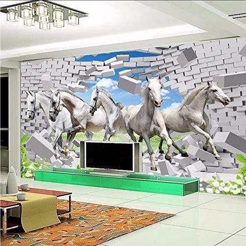 Gwgdjk Custom Photo Wall Papers Decoración Para El Hogar Livingroom Moderno Fondo De Tv Pintura De Pared White Horse Flash Tela De Plata Mural Wallpaper