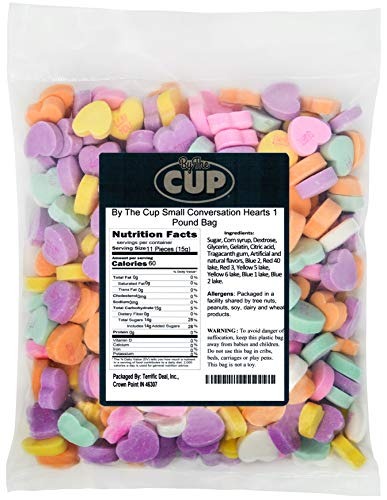 By The Cup Small Conversation Hearts 1 Pound Bag