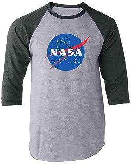 NASA Approved Meatball Logo Graphic Space Vintage Raglan Baseball Tee Shirt