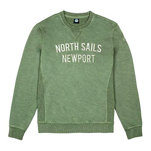 NORTH SAILS Felpa Uomo in Verde Profondo - 100% Cotone con Girocollo A Forma di Triangolo Dettaglio e la Maniche Lunghe - S