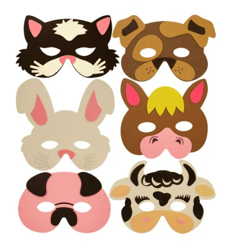 (.) - The Little Party Shop 1 x Childrens Eva Foam Farm Animal Masks Party Bag Filler Toys