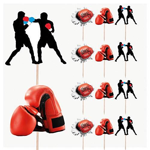 Guantes de boxeo para fiestas de cumpleaños, decoración de cupcakes (paquete de...