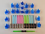 LEGO Lightsabers W/Blue Crystals LOT of 29 Star Wars Glow in The Dark
