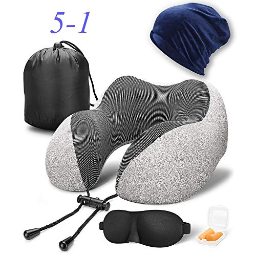 Asgii Travel Pillow, Best Memory Foam Neck Pillow Head Support Soft Pillow for Sleeping Rest, Airplane Car & Home Use