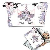 Unicorn Cosmetic Bag Multicolor Pattern Cute Cosmetics Pouchs For Travel Ladies Pouch Women Makeup Bag 2 Pcs (purple)