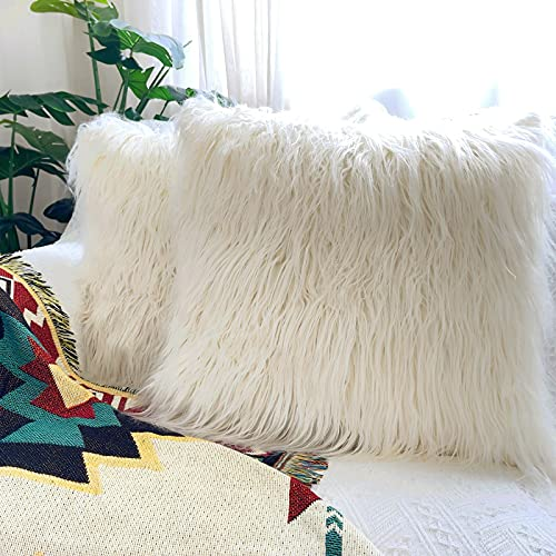 JONIYEAR Pack of 2 Decorative Fluffy Faux Fur Throw Pillow Covers 18' x 18', Soft Cozy Furry Pillowcase for Bedroom Living Room, Fuzzy Long Shaggy Cushion Covers for Couch and Sofa, No Inserts,Cream
