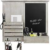 Wandorganizer 46,5x52,5x6cm mit Tafel, Ablagen und Metallhaken, Wandablage Wandboard für Büro Haushalt