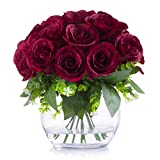 Enova Home Silk Open Rose Flower Arrangement in Round Glass Vase with Faux Water for Home Party Wedding Centerpiece Decoration (Burgundy)